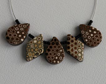 Brown Ombre Polymer Clay Beads
