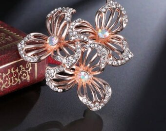 Bridal Wedding Crystal Flower Rose Gold Brooch, Mother of bride brooch