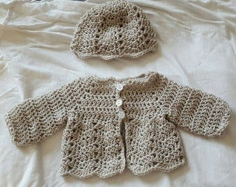 Newborn cardigan and hat
