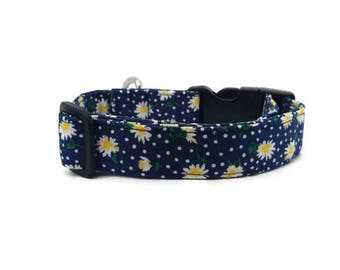 Spring Dog and Puppy Collar, White Daisy Flowers and Dots on Navy, Available in Regular Style or Martingale Styles in Many Sizes and Widths