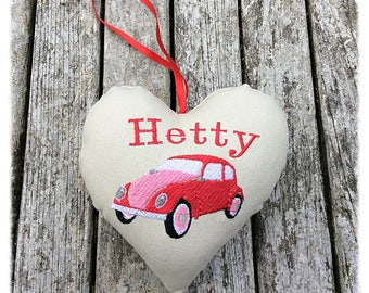 VW Beetle Personalised Heart Decoration, VW gift, car decoration