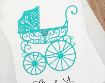 Baby Gift Thank You Cards, Baby Shower Thank You Cards, Baby Note Cards, Baby Thank You Notes, Cute Stationery Set, Thank You Gift, Aqua