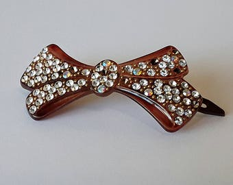 Barrette Rhinestone Celluloid Bow 1940s Art Deco