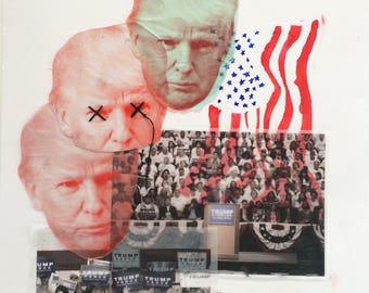 ANTI-TRUMP ARTWORK - 'Make America Hate Again' - Collage and Stitch, A3 Print
