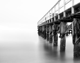 Into the Bay - Aluminum black and white metal print