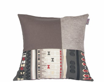 Ethnic cushion cover brown gray black and red