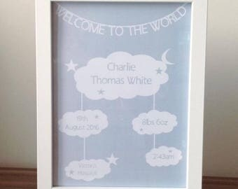 Personalised baby frame new baby gift nursery wall decor