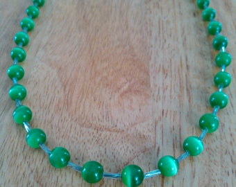 Cute emerald green beaded necklace