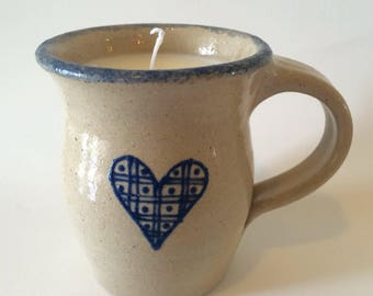 Coffee mug soy candle, black raspberry vanilla soy candle, pottery mug candle, black raspberry vanilla scented candle, soy mug candle