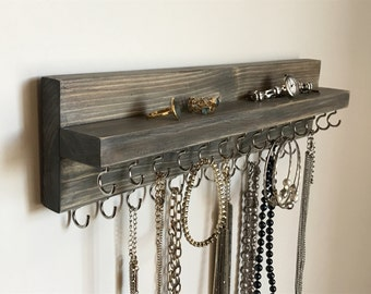 Jewelry Organizer Holder, Necklace Organizer, Wall Mounted Rustic Wood in Gray, Holds Necklaces Bracelets