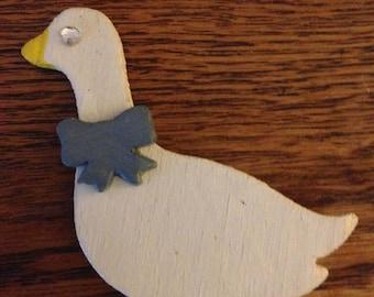 wooden duck brooch