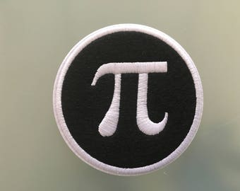 """PI MATHEMATICAL Constant Greek Letter Algorithms Patch - Embroideed Iron On Patch - 3"""" - MATHS"""