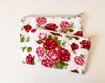 Zipper pouch, cosmetic bag, make up bag, roses, metal zipper