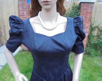Vintage Laura Ashley Dress Size 10 UK  Cotton Damask Black/Rockabilly Dress /Pin Up Dress.