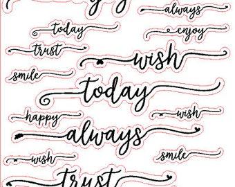 SCRIPT WORDS // Happy Planner // Personal // Erin Condren // Sticker