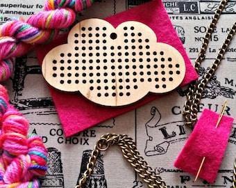 cross stitch pendant, cross stitch kit, wooden pendant, cloud necklace, DIY kit, adult craft kit, jewellery making kit, hand dyed yarn