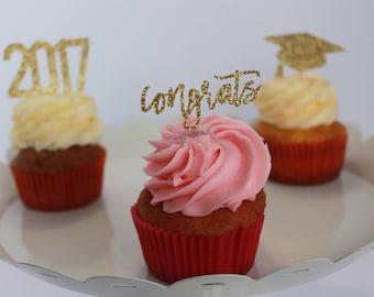 Graduation Cupcake Topper – Class of 2017 – Congrats Cupcake Topper – 2017 Cupcake Topper – Grad Cap Cupcake Topper – Graduation Package