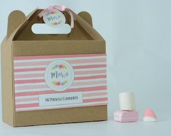 BOX sweets custom for kids birthday, communion, christening, wedding. Picnic gift box