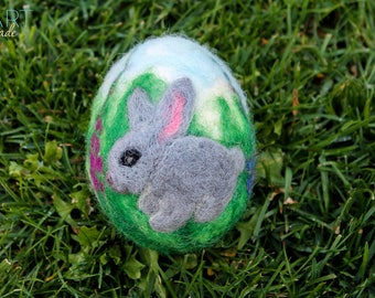 Easter Egg,Needle felted egg,Spring Ornament,Bunny,Needle Felted Easter Egg with Flowers,Easter Gift,Original Art