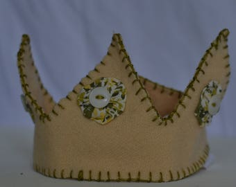 Yellow, White, Green Floral Wool Crown with Vintage Buttons