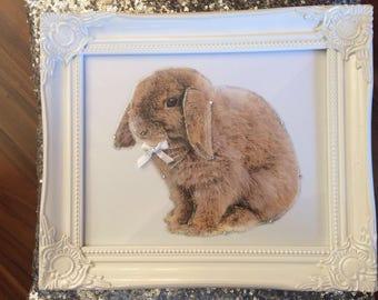 3D Frame Pets Rabbit Diamante Crystal Glitter