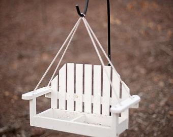 Made in Maine Handmade Wooden Anarondack Swing Bird feeder
