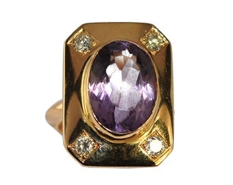 Ring yellow gold 18K with amethyst and diamonds