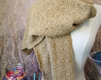 Beige Wrap with a wave and chevron stitch-simple and intricate. This wrap can be worn in numerous ways. BE INVENTIVE!