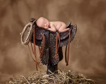 Western Newborn Digital Backdrop, Saddle Newborn Digital Backdrop