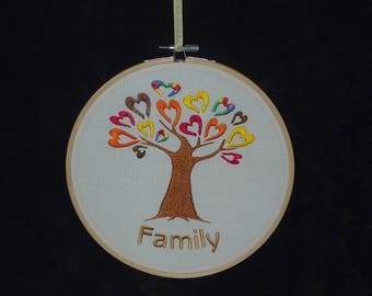 Handmade Tree Design Family Embroidery Hoop Wall Art