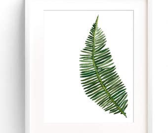 Botanical Fern Leaf Nature Print An Illustration In Watercolour Poster Of Green