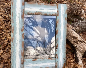 "11x14 Antiqued Mirror with ""Oak Tree"" Pattern in Rustic Distressed Wood Frame"