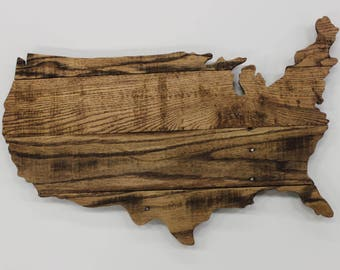 Wooden Usa Map Etsy - Us jigsaw map wood