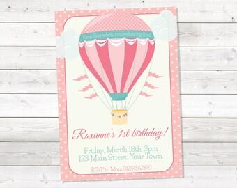 Hot Air Balloon Birthday Invitation, Hot Air Balloon Birthday Invitation for Girl, Pink, Girl, Printable, Personalized