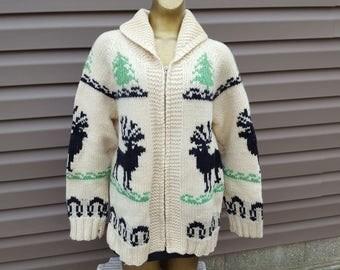 Vintage 60s Cowichan Sweater Reindeer, Trees Sz L