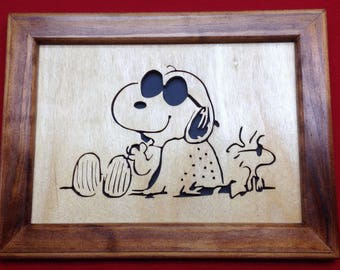 Snoopy & Woodstock Wooden Picture
