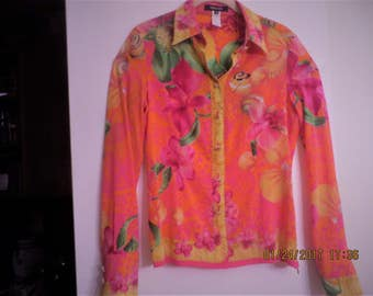 Versace silk couture blouse, long sleeves, size-small