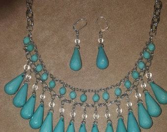 Acrylic Turquoise Tear Drop with matching earrings