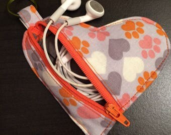I Heart My Pet Earbud Pouch/Coin Purse