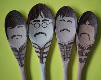 The Beatles, Sgt Pepper's Lonely Hearts Club Band, 50th Anniversary, Pyrography Spoons, 50th Birthday or Golden Wedding Present
