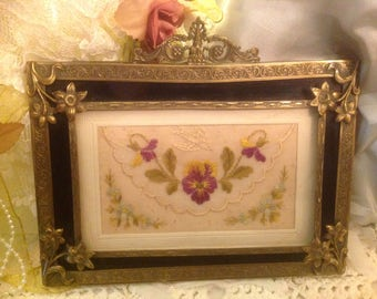 Antique 19th Century Embroidery Panel in Ornate Brass Frame