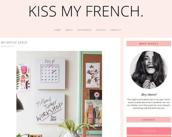 "Wordpress Theme Premade Blog Template Design - ""Kiss My French"" Instant Digital Download"