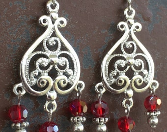 Red and Silver Chandelier Earrings