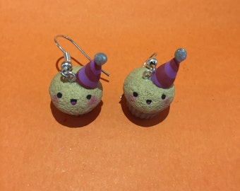 Earrings party cupcake polymer clay