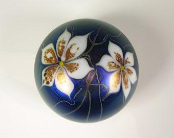 Steve Smyers Blue Iridescent Art Glass Paperweight Northern Star 1975