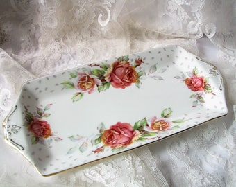 Paragon tray Golden emblem tray Sandwich Tray Replacement paragon Cake dish Cake tray Bread plate Pink roses tray Wedding decor Tea party