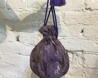 1915/1920s Silk Brocade Drawstring Pouch Evening Bag with Beaded Tassels