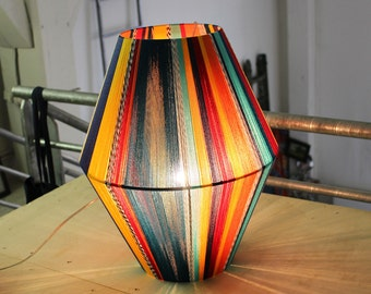 Handwoven lamp shade, multicolored cotton wool threads, 50x40cm 19,7x15,7inches, can be hung or simply put down elegant lighting, diamond