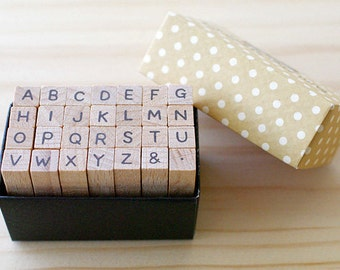 Clearance Sale - A TYPE - Mini Alphabet Stamp Set - font g type - Capital letter