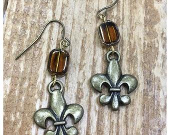 Anyique Gold Fleur de Lis with glass bead dangle Earrings